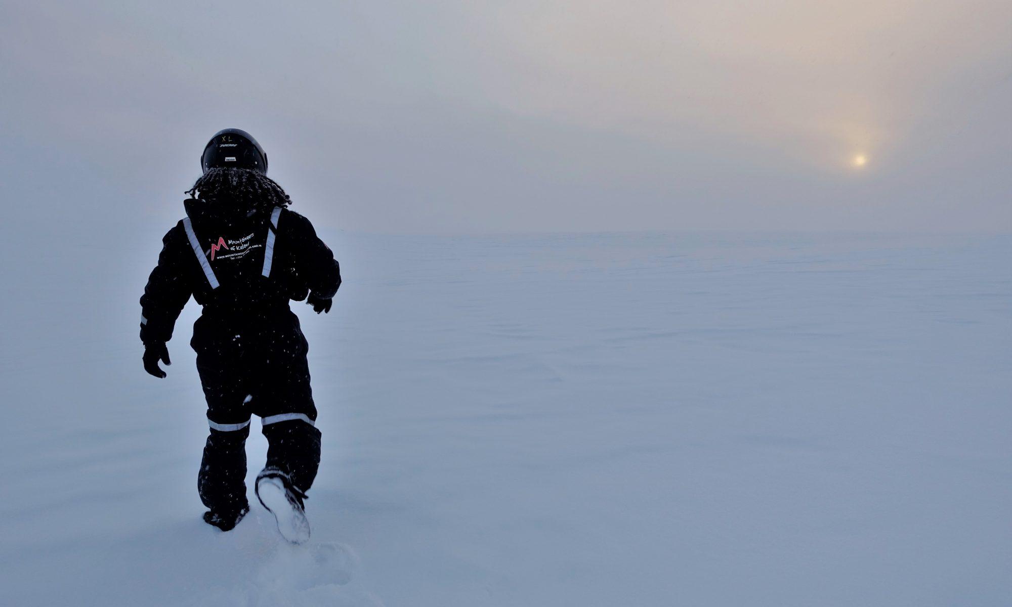 Iceland glacier snowmobiling tour